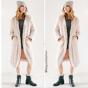 """Urban Outfitters """"CO"""" label Shaggy Fur Long Coat"""
